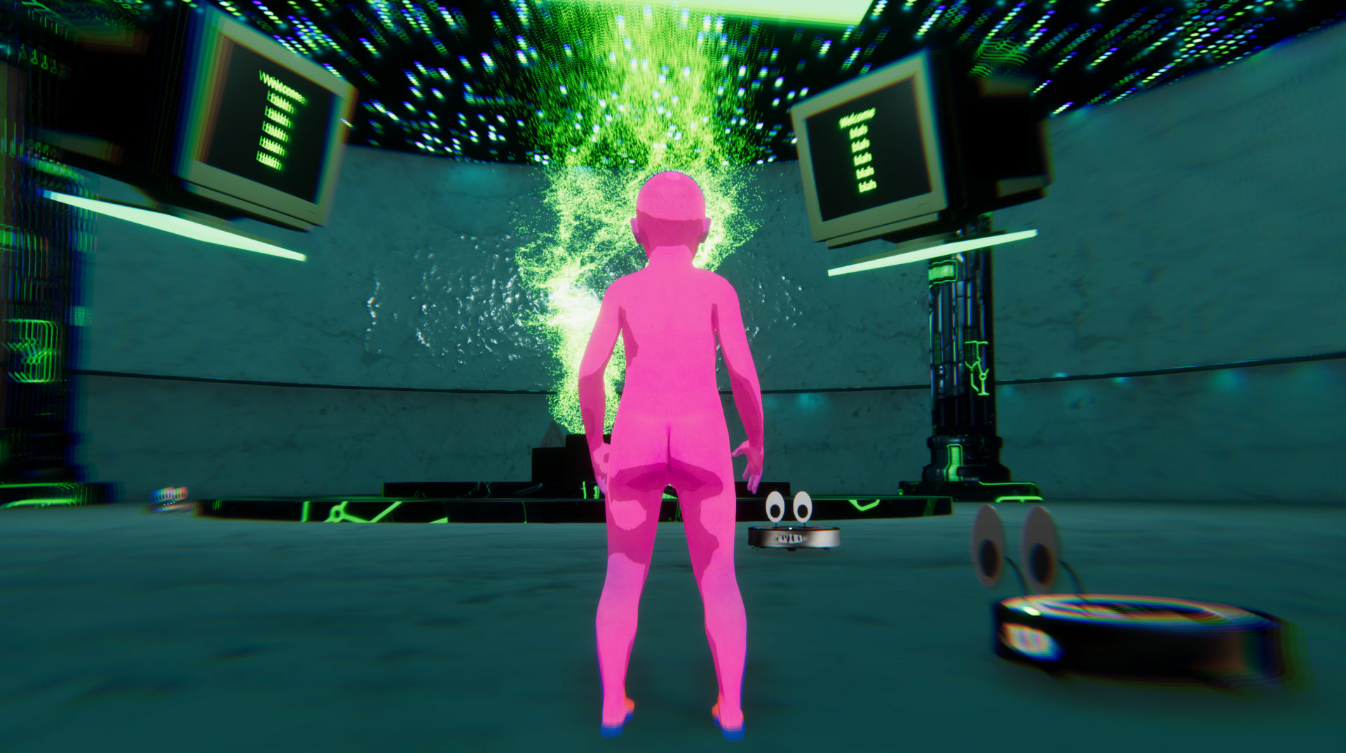 The nude, hot-pink, humanoid figure stands with its back to the frame in a teal room with an open, black ceiling filled with stars and neon green glitch marks. Two computer or TV monitors are in the frame with black screens and neon green words, which are hard to make out. Two small robot vacuums with eyes and mouths filled with teeth are placed on the ground.